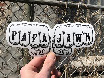 PAPA JAWN philadelphia sticker knuckle tats hands fists knuckles hand type hand drawn illustration