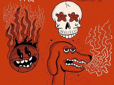 Digital Doodle DUMP skull dog basketball procreate sketchbook doodle hand drawn illustration