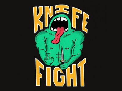 KNIFE FIGHT tongue fight knife monster hand type hand drawn illustration