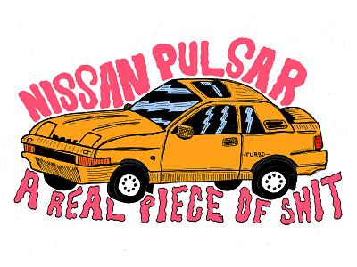 Nissan Pulsar nissan lowbrow car typography hand type hand drawn illustration