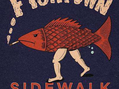 Fishtown Sidewalk Sale farting smoking cigarette philadelphia fishtown fish typography hand type hand drawn illustration