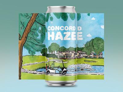Concord Haze IPA ipa golfer golf beer hops typography hand drawn illustration