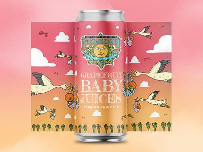 Grapefruit Baby Juices IPA storks grapefruit ipa beer art beer label beer branding typography hand drawn illustration