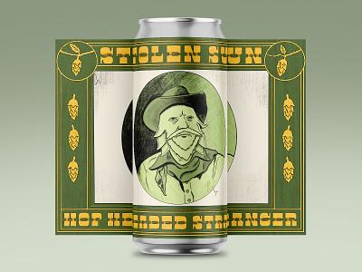 Hop Headed Stranger portrait cowboy beer label beer art beer can hops willie nelson typography hand drawn illustration