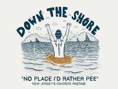 DOWN THE SHORE funny beach swimming new jersey merch design shirt design hand type hand drawn illustration