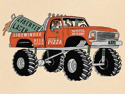 Libertee Lager raccoon snake monster truck beer philadelphia typography hand type hand drawn illustration