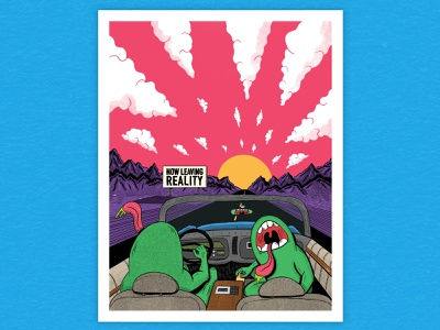 Just Visiting psychedelic driving mountains landscape fear and loathing monsters typography hand type illustration