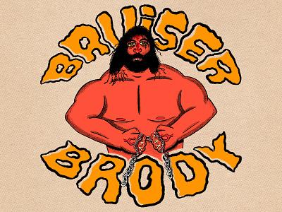 Bruiser Brody nostalgia sports 80s bruiser brody wwe wrestling typography hand type illustration