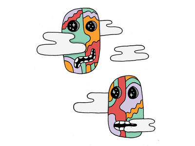 Heads in the Clouds heads clouds hand drawn illustration daily doodle