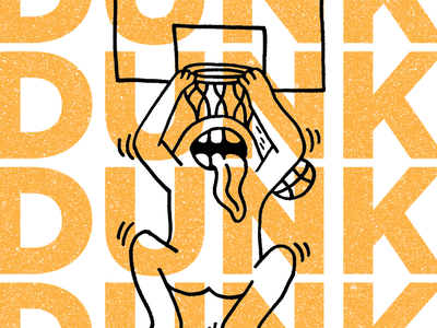 DUNK dunk typography monster boxer basketball hand drawn illustration daily doodle