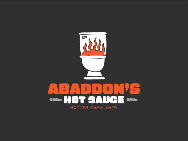Abaddon's Hot Sauce fire devil hot sauce toilet logo branding typography hand type hand drawn illustration