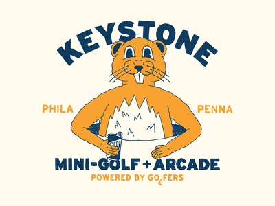 Keystone Mini-Golf + Arcade gopher golf shirt design branding philadelphia hand type hand drawn illustration