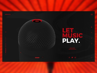 Kreate  Music Company Website design Concept self-study learning product design landing page red and black white uiux user experience user interface minimal product page exploration