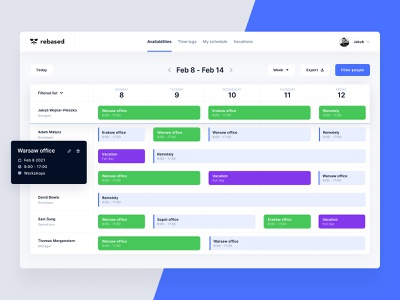 Schedule App Availabilities date planner filters schedule dashboard ui calendar