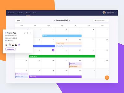 Projects calendar dashboard design sprint forecast planner management projects calendar