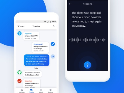 AI business assistant - voice note chat notification note voice android mobile assistant business