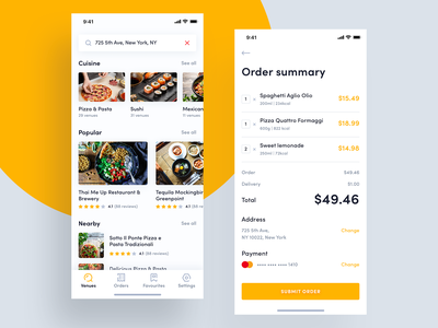Food delivery - order summary order delivery app mobile ios food