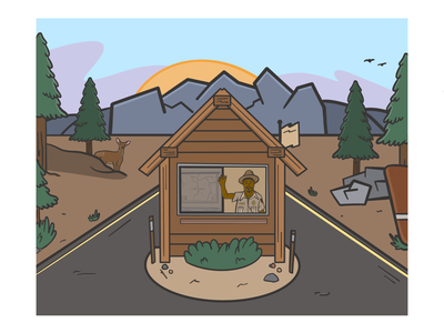 Ranger Station national park woods nature procreate ilustration ranger station