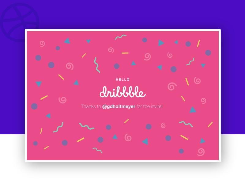 Hello Dribbble! confetti thanks debut shot debut
