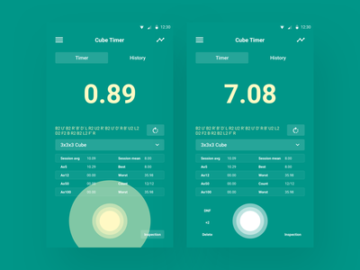 Cube Timer ui design design inspiration green design ui
