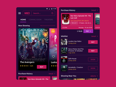 MOZI Cinema App_2 debut design inspiration simple ui best ui ui design product design