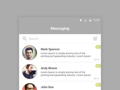 Messenger App marvel sketch invision news news app design design inspiration simple ui best ui ui design product design