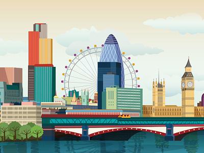 London building city illustration england uk london