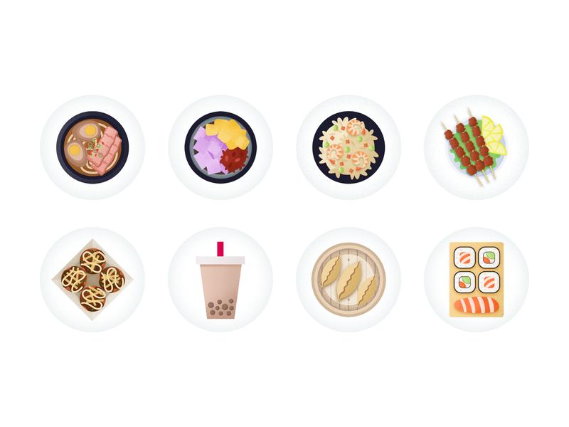 Chinese food icon 章鱼小丸子 烤串 芋圆 炒饭 dimsum rice sushi milk tea bbq chinese food food noodle chowbus simple icon
