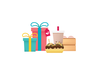 Reward gift chowbus reward gift 礼物 中餐 chinese food food illustration clean ui icon