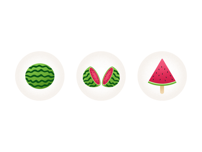 watermelon 西瓜 cute icecream illustration flat summer chowbus watermelon