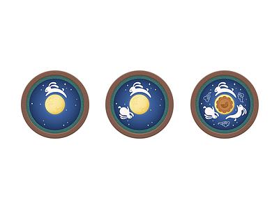 Mid autumn Rabbit rabbit 月饼 mooncake 中秋 mid autumn chowbus flat illustration clean simple ui