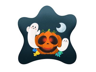 halloween 南瓜 万圣节 candy ghost pumpkin halloween chowbus illustration clean simple
