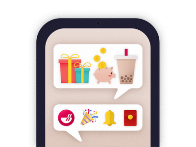 SMS notification 短信 提示 iphone bell emoji notification sms chowbus branding icon ui illustration