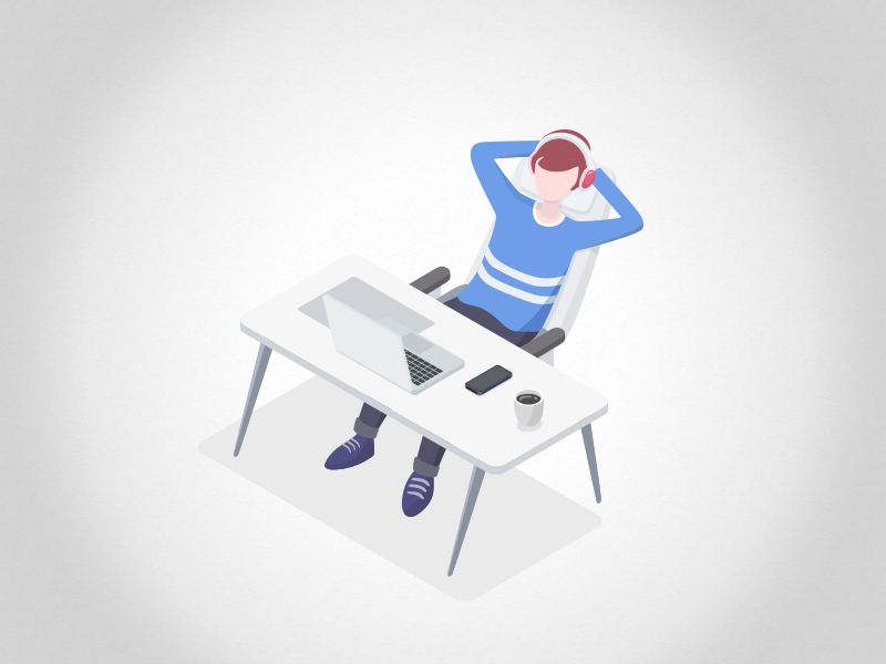 Take A Rest character rest illustration isometric simple clean ui