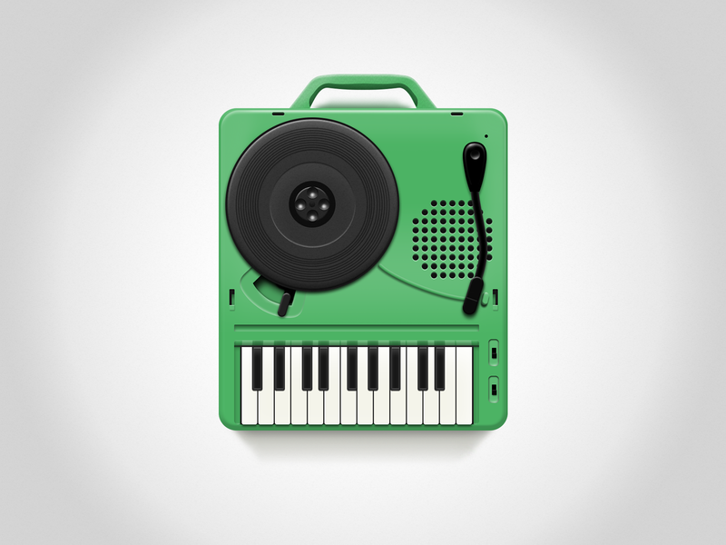 Japan National Record Player green music old style record player design practice clean ui simple icon