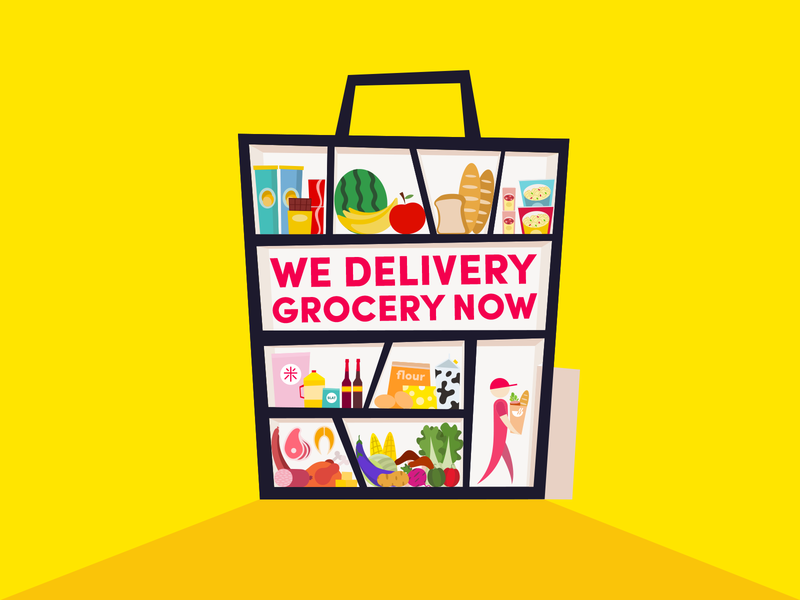 Grocery delivery chowbus grocery food design illustration simple
