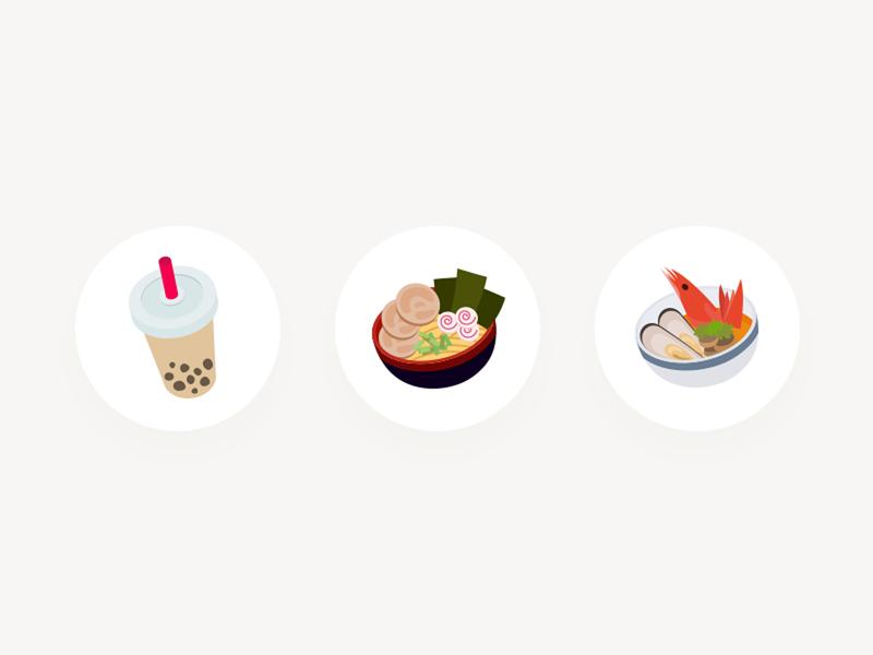 Food Icons chowbus milk tea noodle food illustration vector simple ui icon