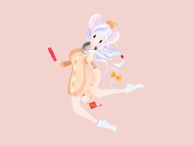 2020 art concept drawing procreate 2020 春节 鼠年 lunar new year girl design illustration