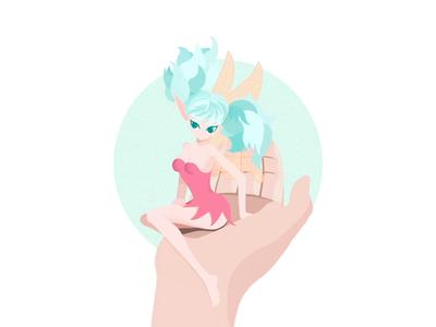 Elf girl process flat girl elf procreate design illustration
