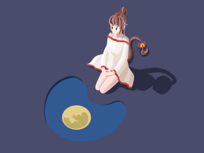 mid autumn 赏月 moon mid autumn 插画 girl 中秋 flat illustration design icon