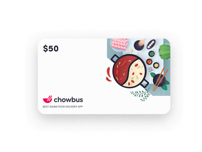 chowbus food gift card card flat clean gift card hot pot chowbus chinese food food illustration simple