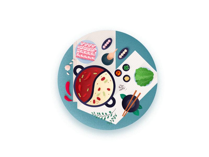 hot pot 中餐 chinese food 火锅 hot pot flat illustration ui icon