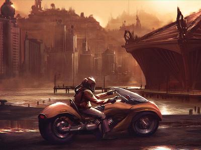 Epic illustration concept art cityscape sunset digital painting