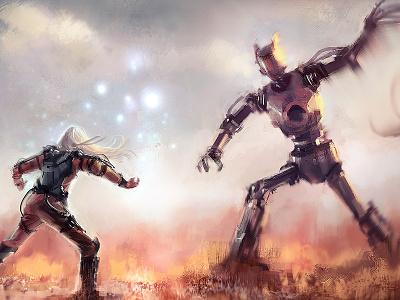 Davida vs Goliath concept art character design digital painting illustration