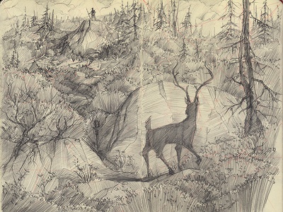 Hunting Season :( moleskine sketchbook sketch concept art