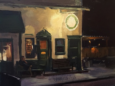 Nightime Scene impressionistic color coffeshop traditional oil plein air nocturne