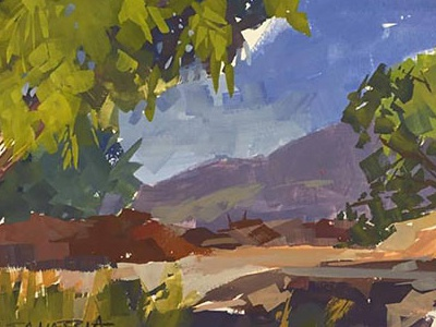 BreakTime environment plein air sketch painting gouache
