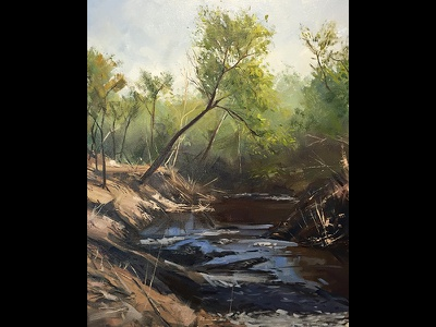 Down by the Creek creek trees landscape representational realisism impressionism illlustration painting oil plein air