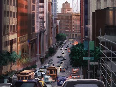 California Avenue painting pleinair outdoor digital cityscape