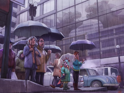 Everyone is Too Busy digital painting production painting illustration concept art